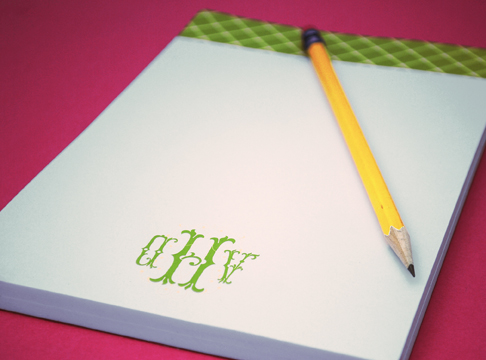 monogrammed notepad