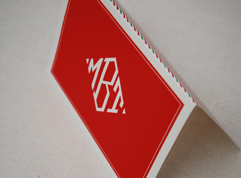 red & white monogram +  holiday stripe