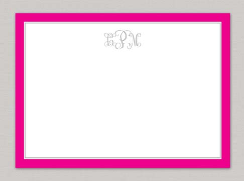 open vine monogram + hot pink border